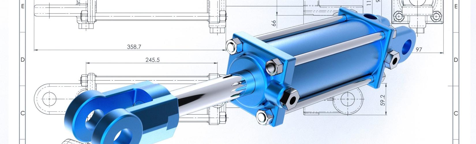 Hydraulikzylinder auf Zeichnung