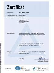 Certification according to DIN EN ISO 9001